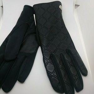 NWT Calvin Klein Quilted Zipper Gloves Black M